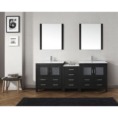 Cartagena 82 Double Bathroom Vanity Set with Ceramic Top and Mirror Base Finish: Zebra Gray