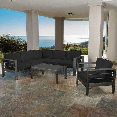 Crosstown Outdoor Dark Grey 5 Piece Sectional Set with Cushions