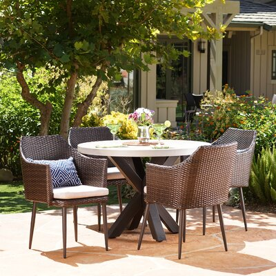 Calliphon Outdoor 5 Piece Dining Set with Cushions Color: Brown