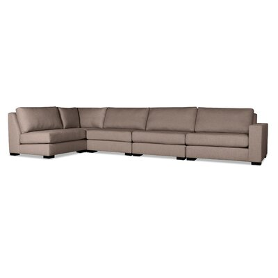 Brose L-Shape Upholstered Modular Sectional Upholstery: Brown