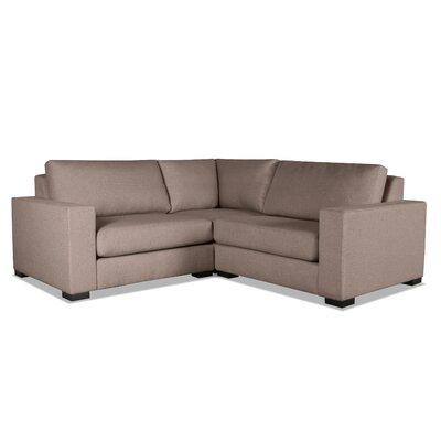 Brose L-Shape Wood Frame Modular Sectional Upholstery: Brown
