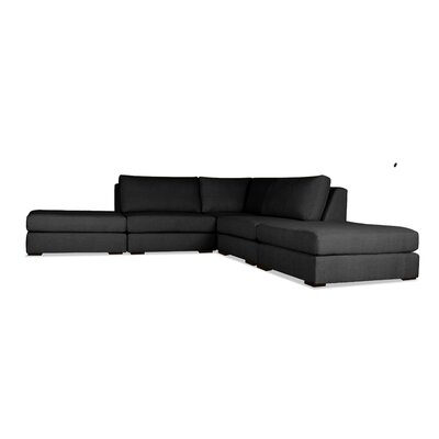 Glaude L-Shape Upholstered Modular Sectional Upholstery: Charcoal