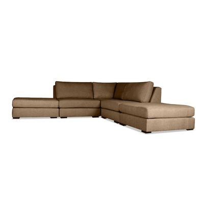 Glaude L-Shape Upholstered Modular Sectional Upholstery: Brown