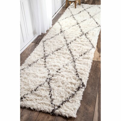 Dunford Hand-woven Beige Area Rug Rug Size: Runner 26 x 12