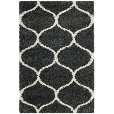 Hampstead Shag Dark Gray/Ivory Area Rug Rug Size: Rectangle 4 x 6