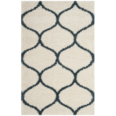 Hampstead Ivory/ Slate Blue Area Rug Rug Size: Rectangle 4 x 6