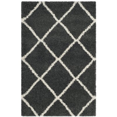 Humberto Shag Dark Grey/Ivory Area Rug Rug Size: Rectangle 4 x 6