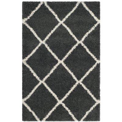 Humberto Shag Dark Grey/Ivory Area Rug Rug Size: Rectangle 4 x 6