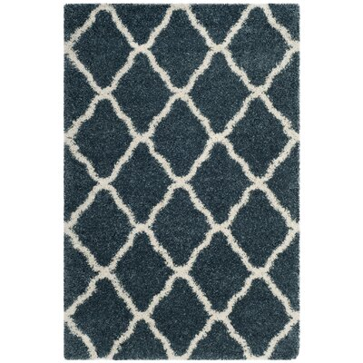Melvin Shag Blue/Beige Trellis Area Rug Rug Size: Rectangle 4 X 6