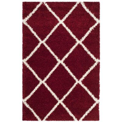 Humberto Shag Red/White Area Rug Rug Size: Rectangle 4 x 6