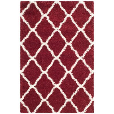 Melvin Shag Red/White Area Rug Rug Size: Rectangle 4 x 6