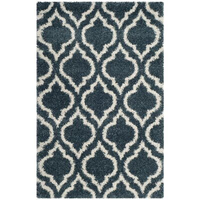 Melvin Shag Blue/Beige Area Rug Rug Size: Rectangle 4 x 6