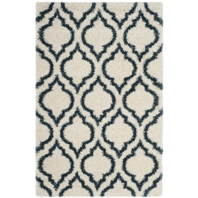 Melvin Shag Beige/Blue Area Rug Rug Size: Rectangle 4 x 6