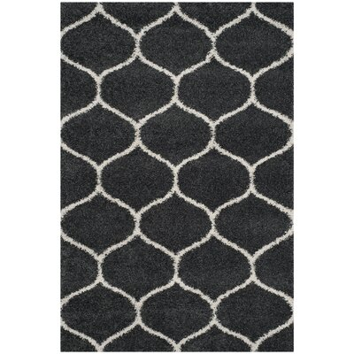 Hampstead Shag Dark Gray/Ivory Area Rug Rug Size: Rectangle 5-1 X 7-6