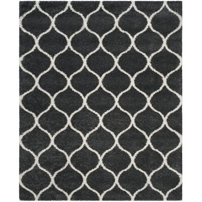 Hampstead Shag Dark Gray/Ivory Area Rug Rug Size: Rectangle 8 x 10