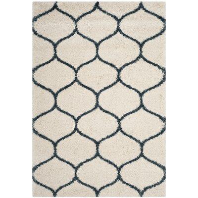 Hampstead Ivory/ Slate Blue Area Rug Rug Size: Rectangle 51 x 76