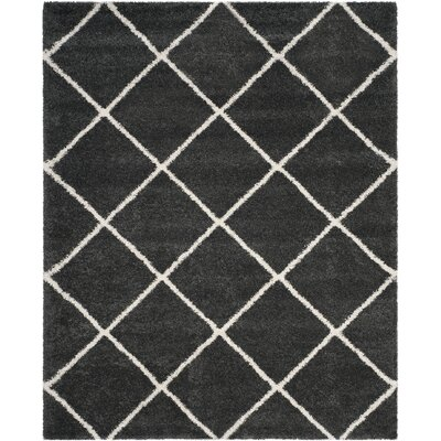 Humberto Shag Dark Grey/Ivory Area Rug Rug Size: Rectangle 8 x 10