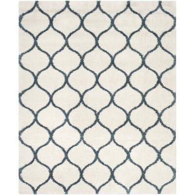 Hampstead Ivory/ Slate Blue Area Rug Rug Size: Rectangle 8 x 10