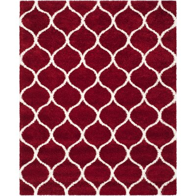 Humberto Shag Red/White Area Rug Rug Size: Rectangle 8 x 10