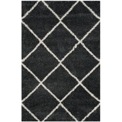 Humberto Shag Dark Grey/Ivory Area Rug Rug Size: Rectangle 51 x 76