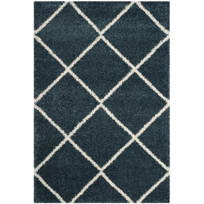 Humberto Shag Blue/Beige Area Rug Rug Size: Rectangle 51 x 76