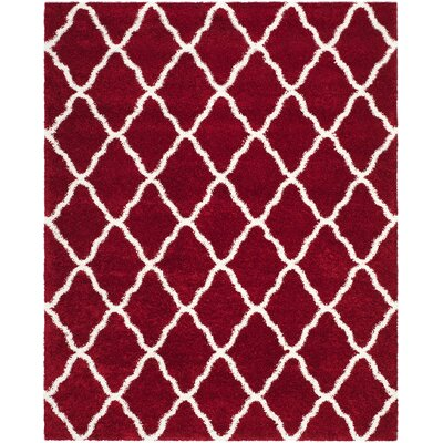 Melvin Shag Red/White Area Rug Rug Size: Rectangle 8 x 10