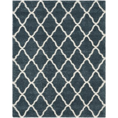 Melvin Shag Blue/Beige Trellis Area Rug Rug Size: Rectangle 8 x 10