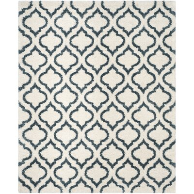 Melvin Shag Beige/Blue Area Rug Rug Size: Rectangle 8' x 10'