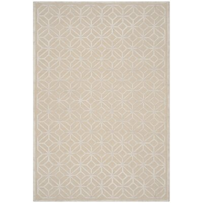 Flippen Hand-Knotted Beige/Gray Area Rug Rug Size: Rectangle 6 x 9