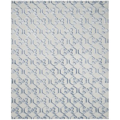 Sonia Hand-Knotted Blue/Ivory Area Rug Rug Size: Rectangle 8 x 10