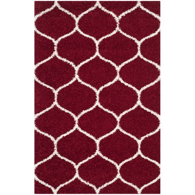 Humberto Shag Red/White Area Rug Rug Size: Rectangle 5'-1