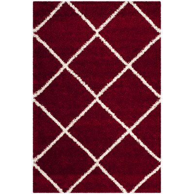 Humberto Shag Red/White Area Rug Rug Size: Rectangle 51 x 76