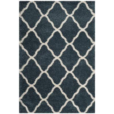 Melvin Shag Blue/Beige Trellis Area Rug Rug Size: Rectangle 51 x 76