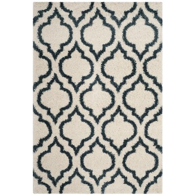 Melvin Shag Beige/Blue Area Rug Rug Size: Rectangle 51 x 76