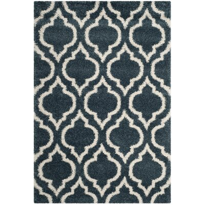 Melvin Shag Blue/Beige Area Rug Rug Size: Rectangle 51 x 76