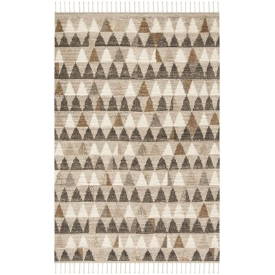 Lohan Hand-Knotted Ivory Area Rug Rug Size: Rectangle 6 x 9