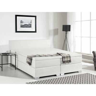 Gaskill Upholstered Platform Bed with Mattress Color: White, Size: Queen