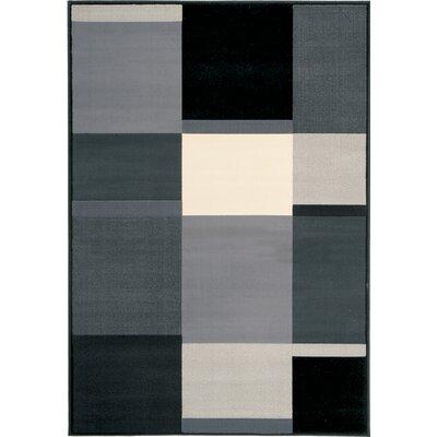 Chong Grey Black Squares Rug Rug Size: 53 x 77
