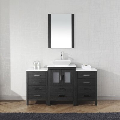 Cartagena 60 Single Bathroom Vanity Set with White Stone Top and Mirror Base Finish: Zebra Gray
