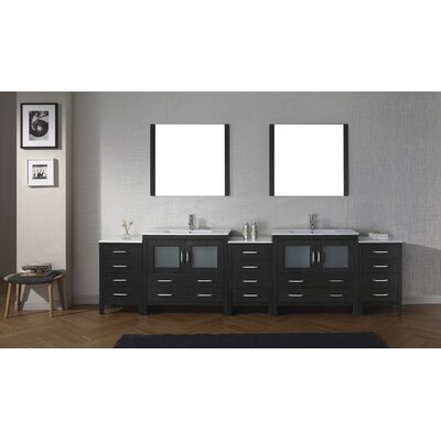 Cartagena 117 Double Bathroom Vanity Set with Ceramic Top and Mirror Base Finish: Zebra Gray