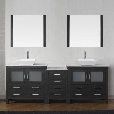 Cartagena 79 Double Bathroom Vanity Set with White Marble Top and Mirror Base Finish: Zebra Gray