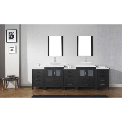 Cartagena 109 Double Bathroom Vanity Set with White Marble Top and Mirror Base Finish: Zebra Gray, Faucet Finish: Polished Chrome