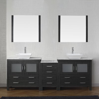 Cartagena 83 Double Bathroom Vanity Set with White Marble Top and Mirror Base Finish: Zebra Gray