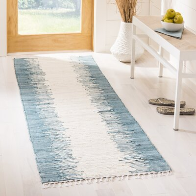 Portsmouth Hand Woven Cotton Blue/Ivory Area Rug Rug Size: Runner 23 x 9