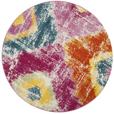 Greaney Pink Area Rug Rug Size: Round 67