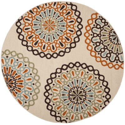 Palma Ivory/Brown Indoor/Outdoor Area Rug Rug Size: Round 67