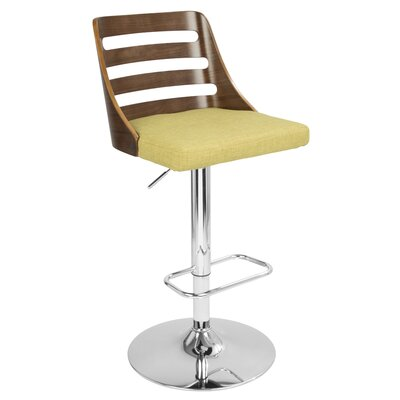 Caesar Adjustable Height Swivel Bar Stool Upholstery: Green