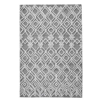Nicoletti Hand-Woven Rectangle Wool Gray/Ivory Area Rug