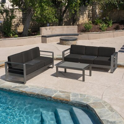 Crosstown Outdoor 3 Piece Sofa Set with Cushions