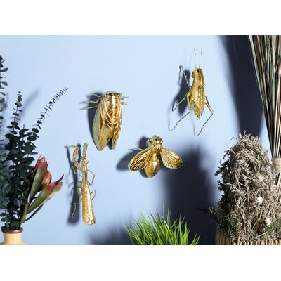 Maurin Modern Insect Polystone 4 Piece Figurine Set Color: Gold